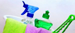 cute picture of cleaning products used by cleaning service