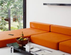beautifully clean living room with vacuumed furniture