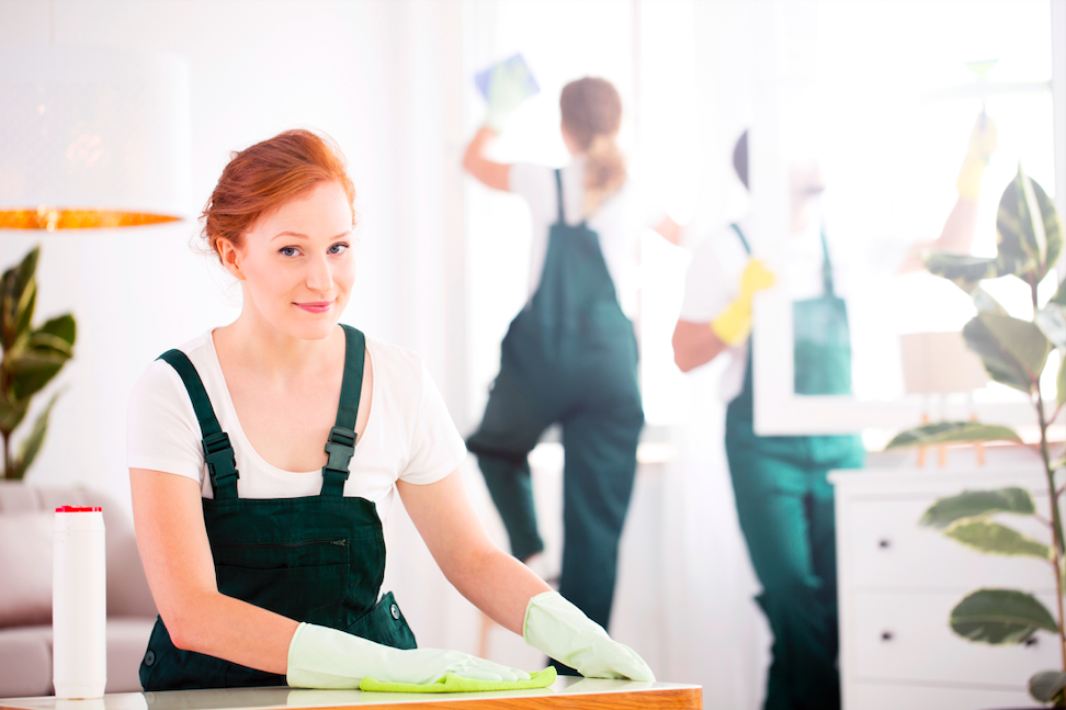 Cleaning service sanitizing office