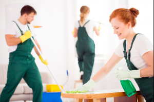 Cleaners cleaning office while smiling
