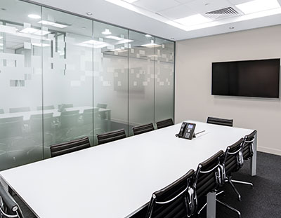 sparkling clean meeting room after cleaning service is finished